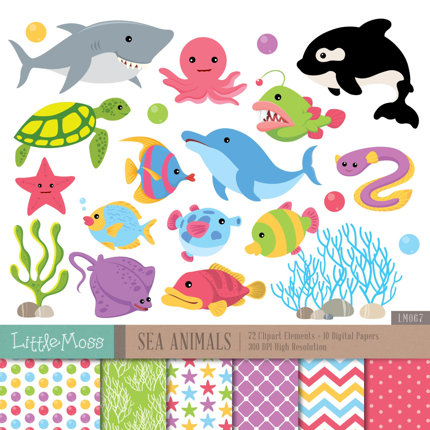 Sea Animals Digital Clipart and Papers, Under The Sea Clipart, Whale, Dolphin, Turtle, Coral, Shark Clipart