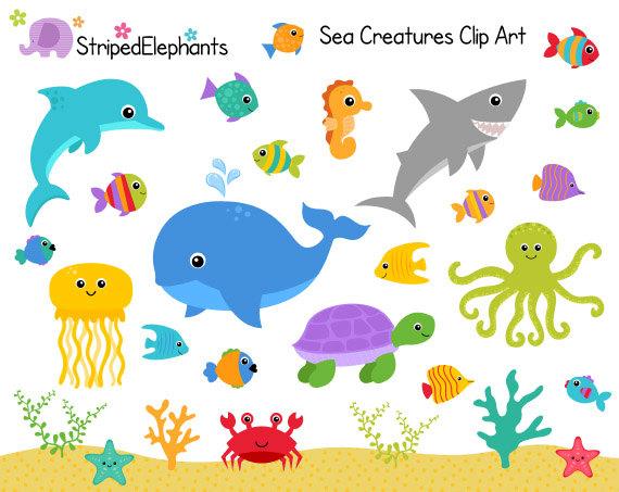 Sea Creatures Clip Art - Under The Sea C-Sea Creatures Clip Art - Under the Sea Clipart - Ocean Animals Clip Art - Instant Download - Commercial Use-15