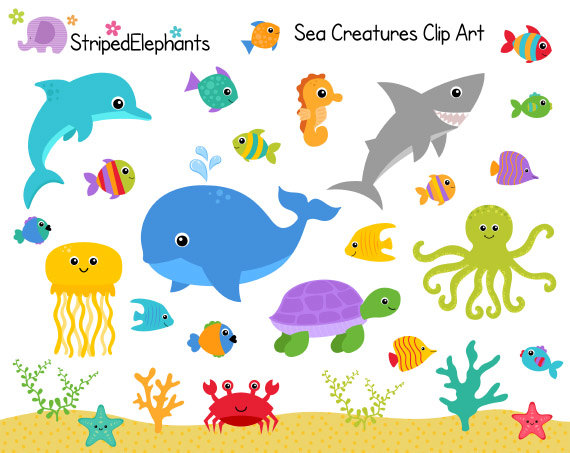 Sea Creatures Clip Art - Under The Sea C-Sea Creatures Clip Art - Under the Sea Clipart - Ocean Animals Clip Art - Instant Download - Commercial Use-18