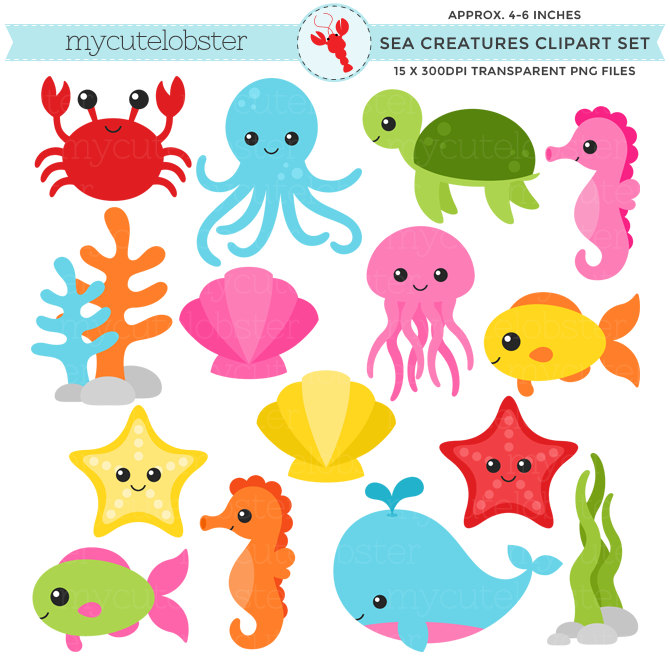 Sea Creatures Clipart Set .