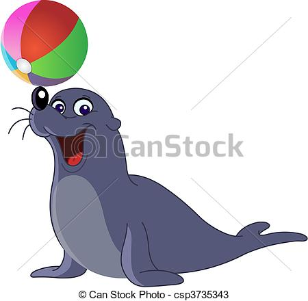 Sea Lion Clipart Vectorby fxmdk732/126; Sea lion - Happy seal with a colored ball