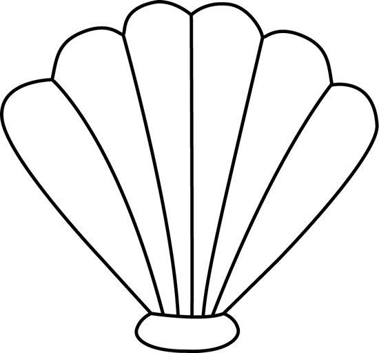 Sea Shell Clip Art Image - black and white outline of a sea shell | Cricut | Pinterest | Sea shells, Shells and Clip art