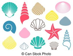 ... Sea shells - Set of various colorful sea shells and starfish.