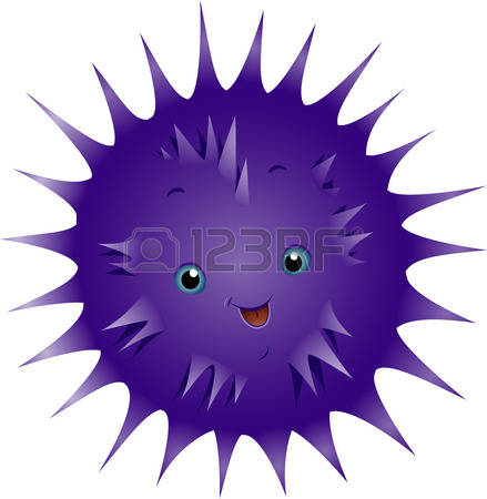 sea urchin: Illustration of a Cute Urchin Smiling Happily Stock Photo