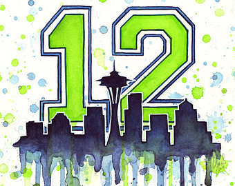 Seattle Seahawks Super Bowl Clip Art | Seattle Seahawks 12th Man Fan Art,  Watercolor,