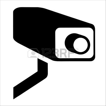 security camera: White Surveillance Camera CCTV Warning Sign