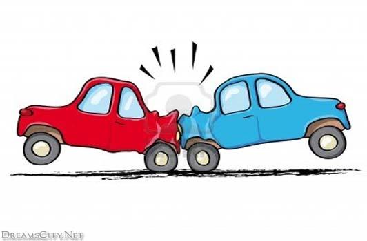 Semi Car Crash Clipart #1