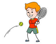 serving a tennis ball. Size: 45 Kb