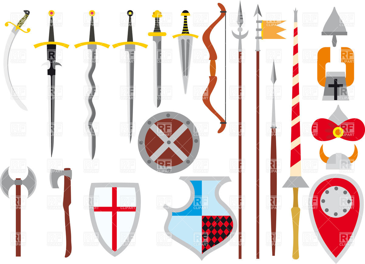 Set Of Medieval Weapon And .. - Weapons Clipart