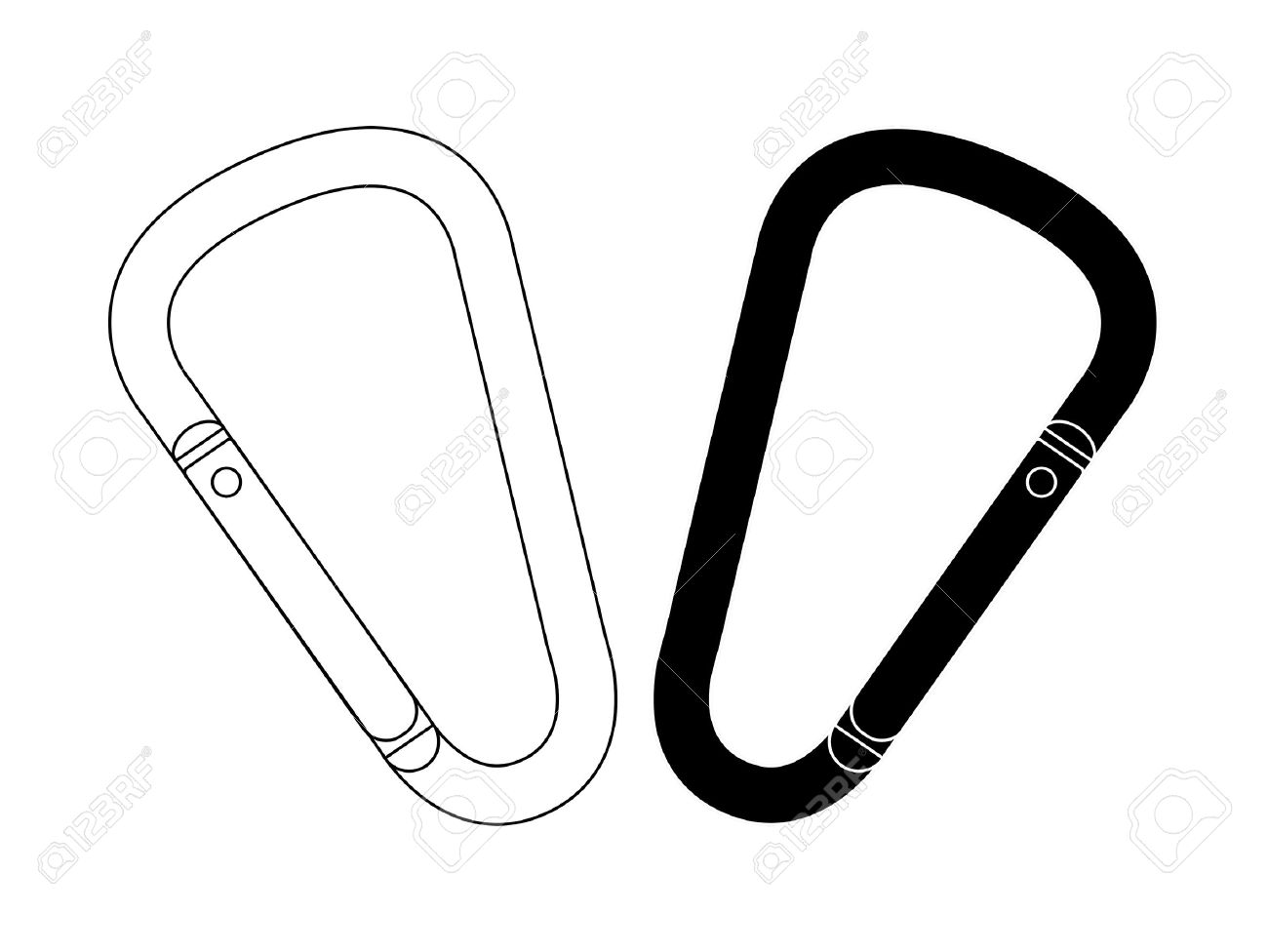Set of safety hiking metal mountain climbing carabiners. Black and contour. Clip art vector