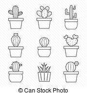 ... Set Of Vector Cactus Icons On White -... Set of vector cactus icons on white background-16