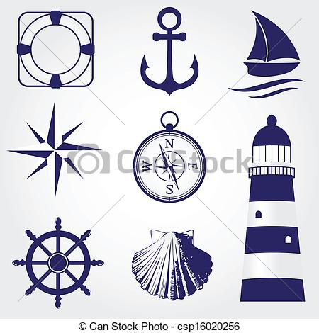 ... Set of vintage nautical labels, icons and design elements