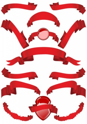 Several Red Ribbon Ribbon Clip Art Free -Several red ribbon ribbon clip art free vector in encapsulated-16