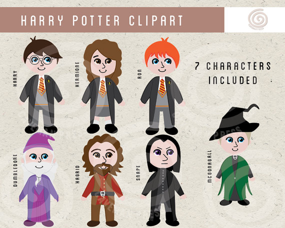 Harry Potter Clipart - Wizard and Witch Clip Art - Hermione, Harry, Ron,  Snape, Dumbledore, Hagrid - Commercial Use - Wands and Brooms