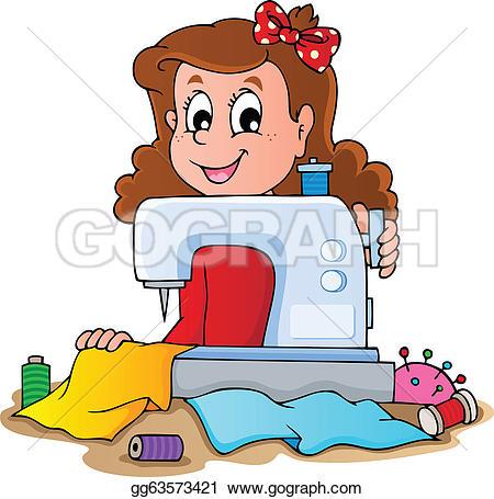 Sewing Tailor Retro Black u0026middot; C-Sewing Tailor Retro Black u0026middot; Cartoon girl with sewing machine-6