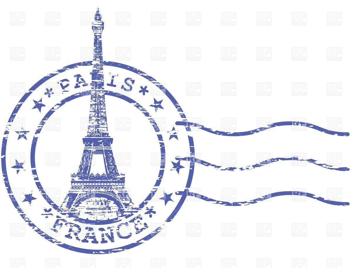Shabby Stamp With Eiffel Towe - Paris Clip Art Free