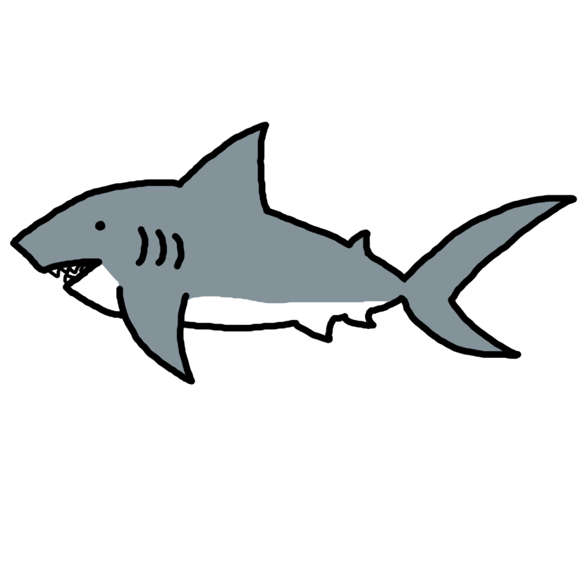 Shark Clip Art Black And White .