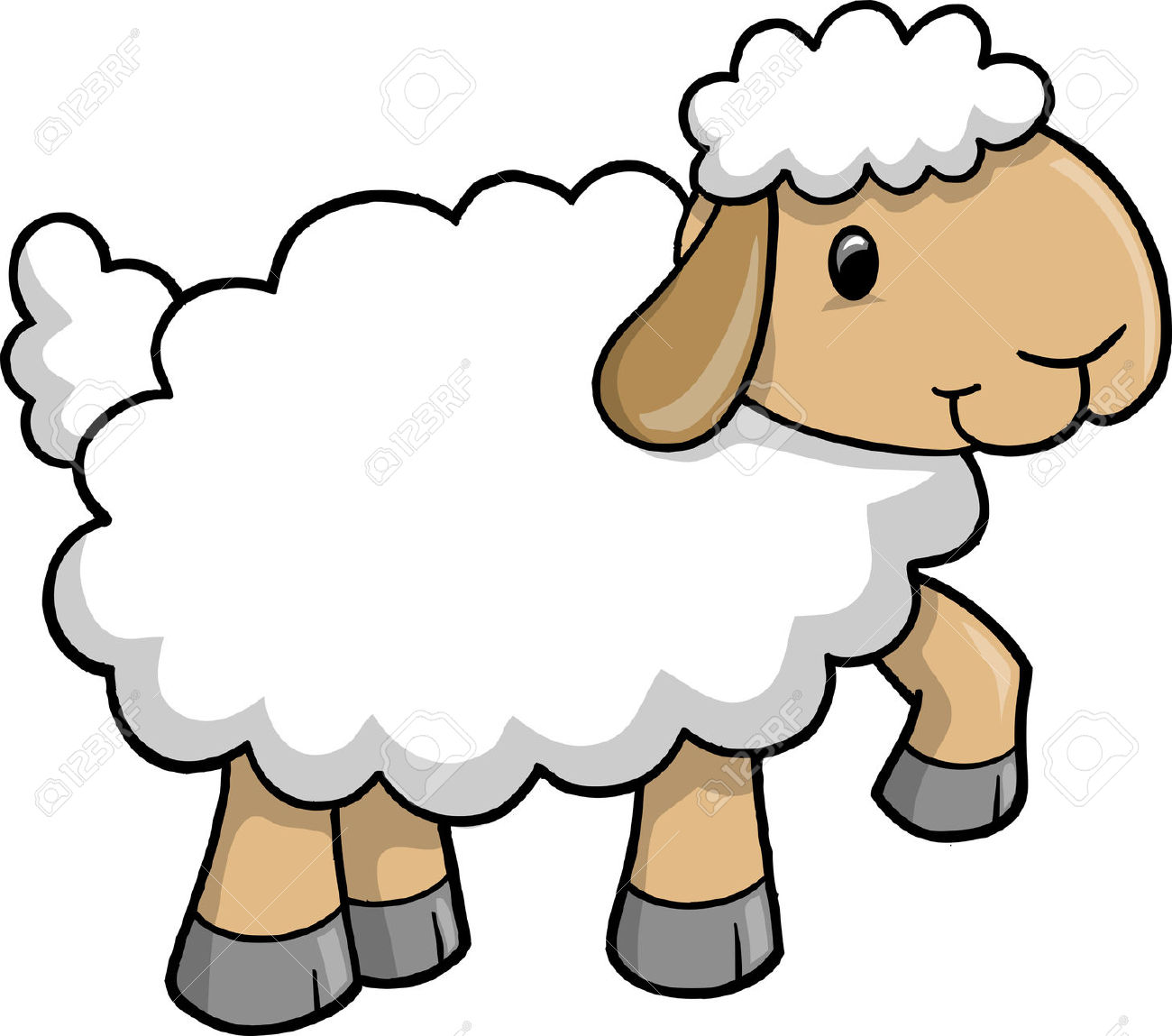 Sheep Clipart Cartoon-Sheep Clipart Cartoon-0