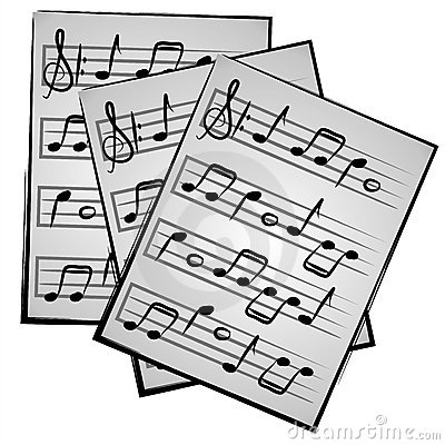 Music Notes on Paper Clipart