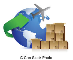 ... Shipping Boxes And Plane Illustratio-... shipping boxes and plane illustration design over white-11