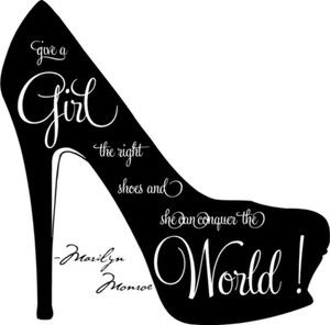 Shoe Silhouette Clip Art | Give A Girl T-shoe silhouette clip art | Give A Girl The Right Shoes Marilyn Monroe Wall Quote Vinyl-14