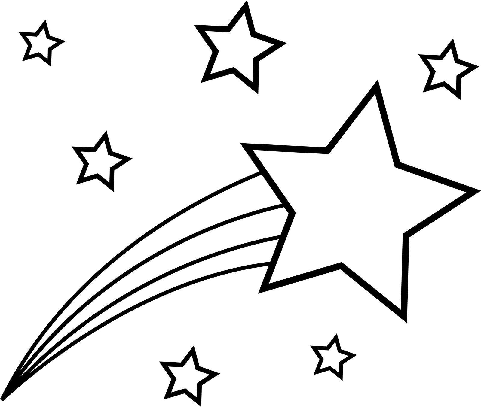 shooting star clip art black and white