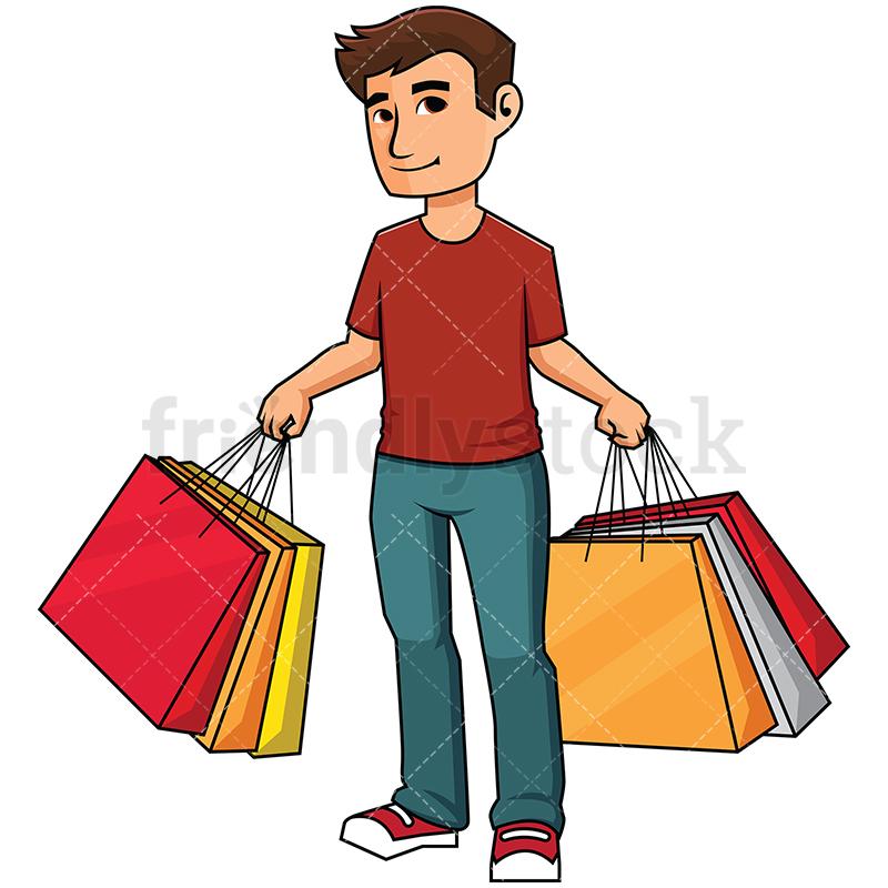Man Holding Shopping Bags - Image Isolat-Man holding shopping bags - Image isolated on transparent background. PNG-6