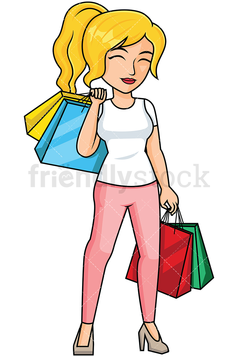 Woman After Shopping Feeling Satisfied --Woman after shopping feeling satisfied - Image isolated on transparent  background. PNG-17