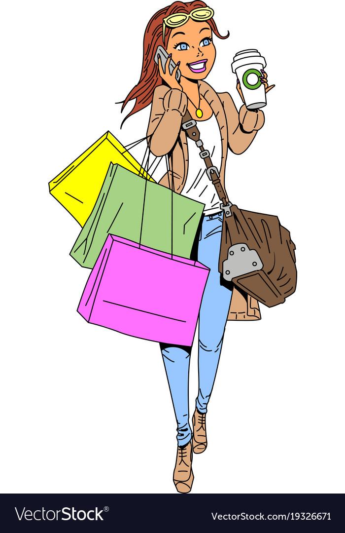 Woman Shopping Clipart Cartoon Vector Im-Woman shopping clipart cartoon vector image-18