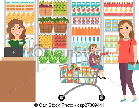 shopping in grocery store - Grocery Store Clipart