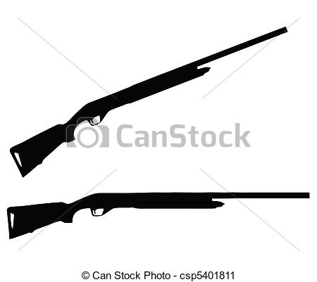Shotgun Vectors Illustrationby tshooter7/1,126; Weapons Silhouette Collection - Firearms - Isolated Firearm.