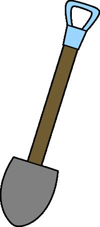 Shovel Clip Art Image - shovel with a long wooden handle.