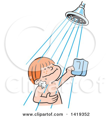 Clipart of a Cartoon Happy Red Haired Caucasian Boy Holding a Bar of Soap  and Taking a Shower - Royalty Free Vector Illustration by Johnny Sajem