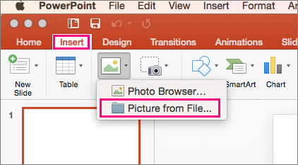 Shows Insert u0026gt; Pictures u0026gt; Picture from file command in PowerPoint 2016 for Mac