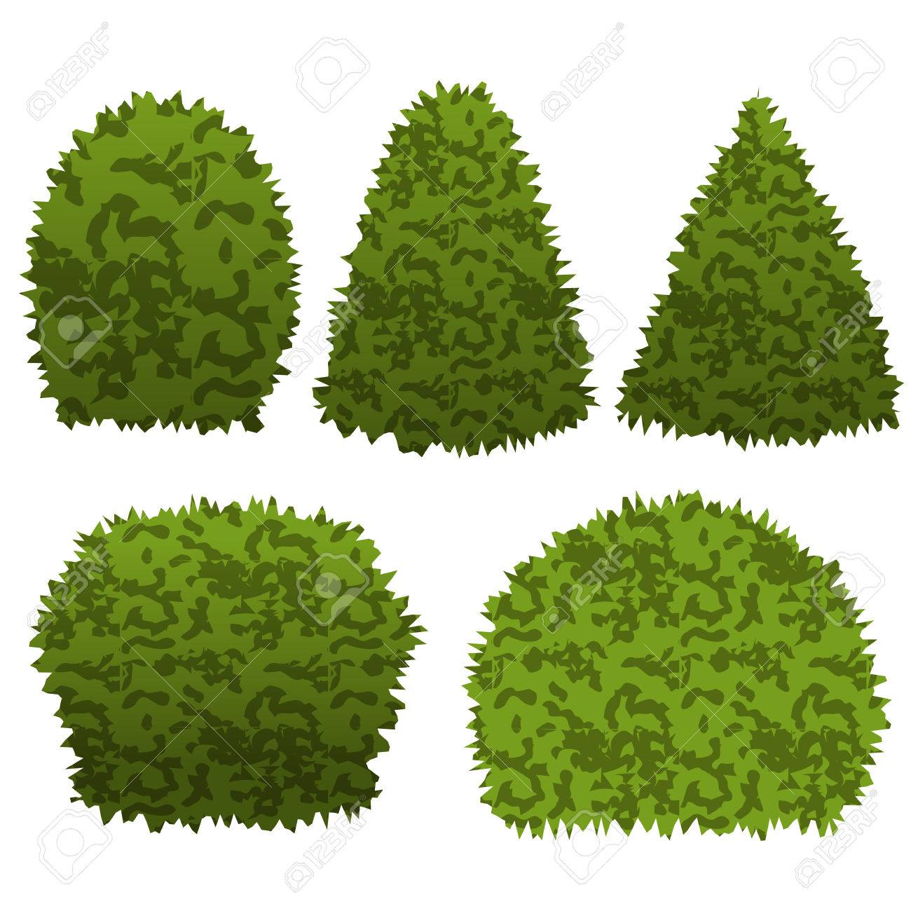 Set Of Garden Bushes. Isolated Vector Bu-Set of garden bushes. Isolated vector bushes can be used to construct  topiary garden scene-13