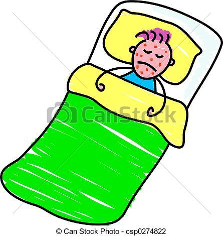 ... sick kid - little boy in bed with chickenpox - toddler art... ...
