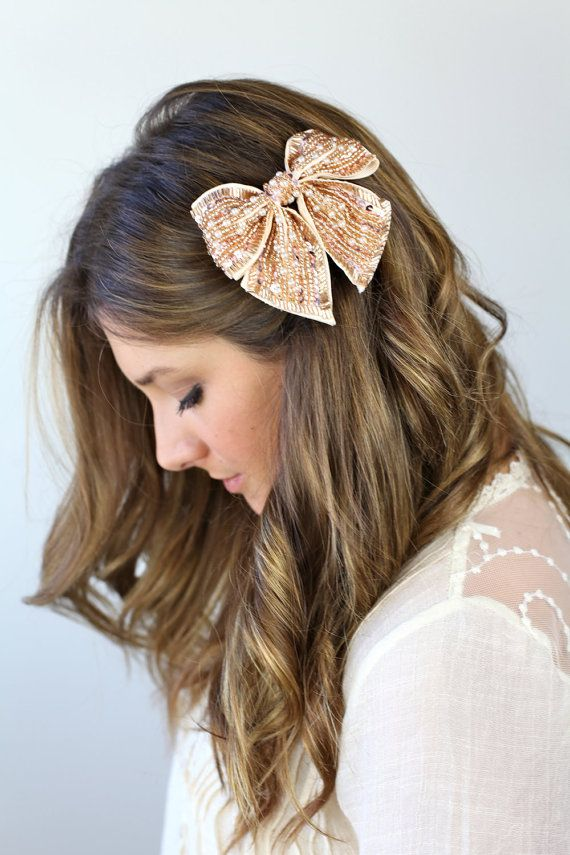 side swept bangs with hair bow clip