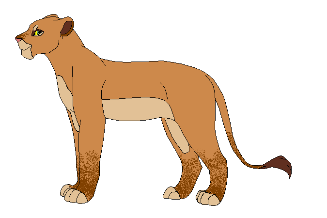 lioness walking alone clipart
