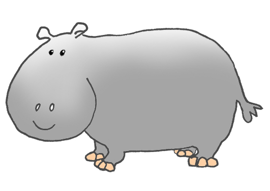 side view of cartoon hippo ...