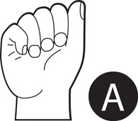Sign Language Letter A Black and White Outline Size: 61 Kb