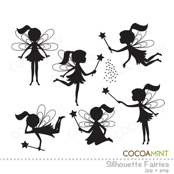 Fairy black. Clipart and white