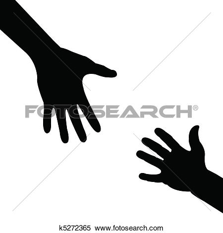 silhouette hand , helping hand