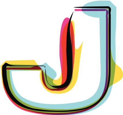 ... Silhouette Of A The Letter J In Different Fonts Clip Art, Vector .