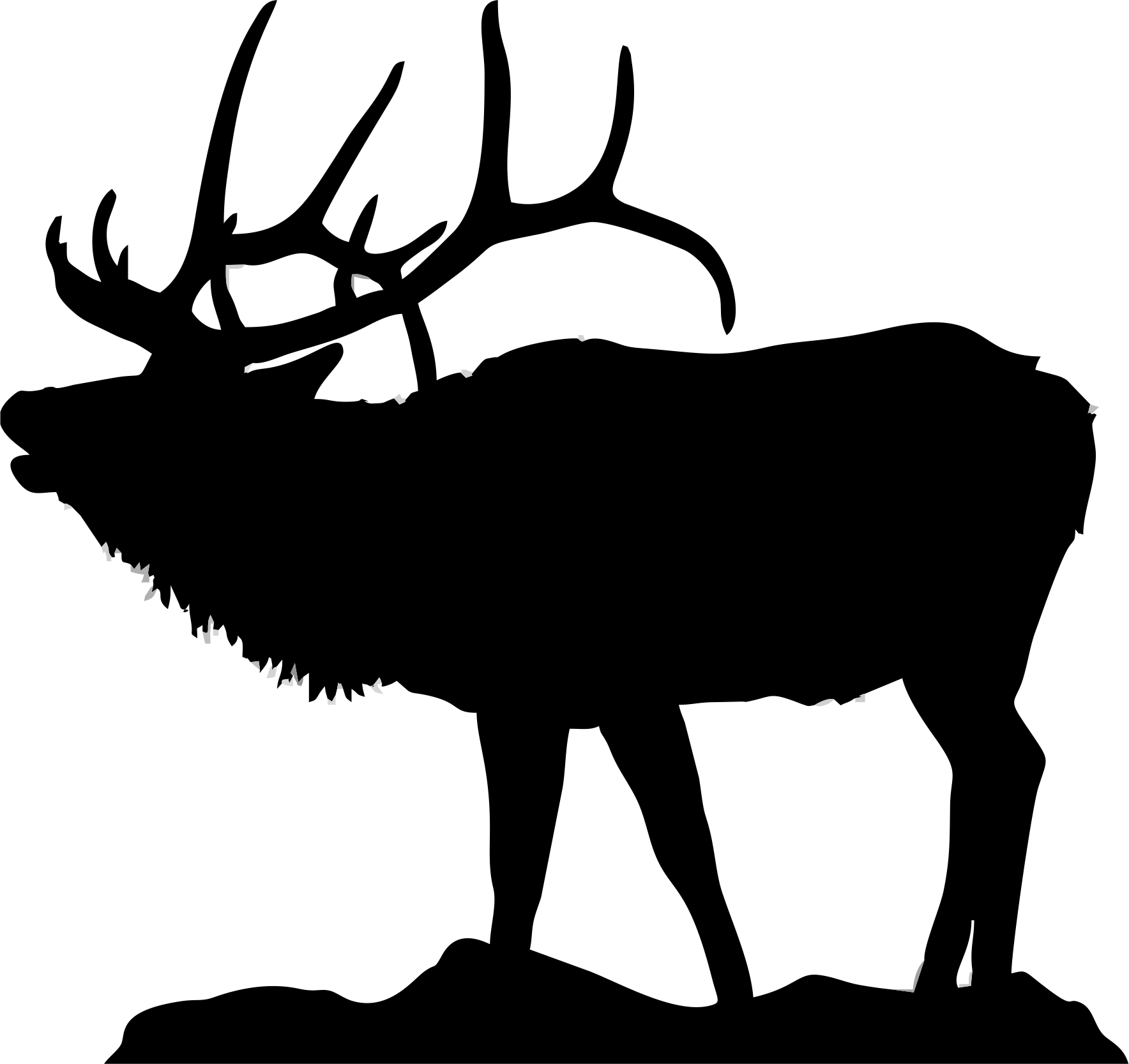 Silhouette Of Elk For Flat-bottom-bowls_-Silhouette of elk for flat-bottom-bowls_ http://www.clipartall-18