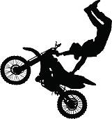 Silhouette Of Motorcycle Rider Performing Trick Stock Illustration