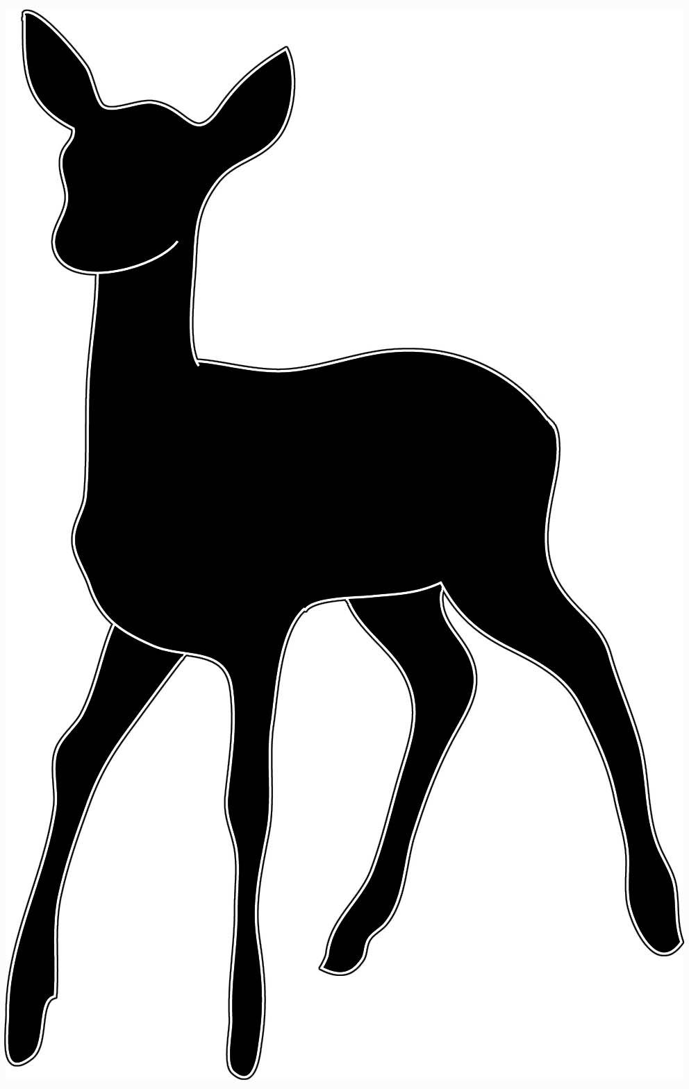 silhouette of running deer, black white -silhouette of running deer, black white silhouette of young deer-15