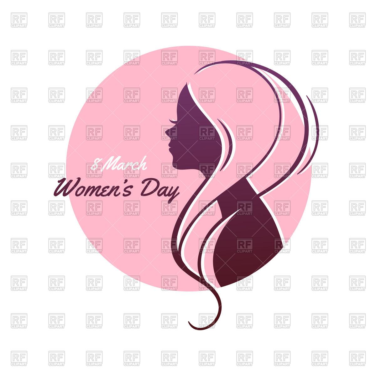 Silhouette of woman with pink hair - International Womenu0026#39;s Day vector image
