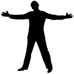 silhouette open positive man  - People Silhouette Clipart