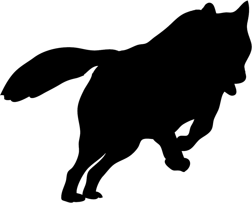 silhouette sketch hunting wolf, silhouette of jumping wolf