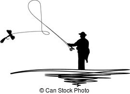 Silhouetted Man Casting Fishing Fly - Ca-Silhouetted man casting fishing fly - Cartoon illustration... Silhouetted man .-10